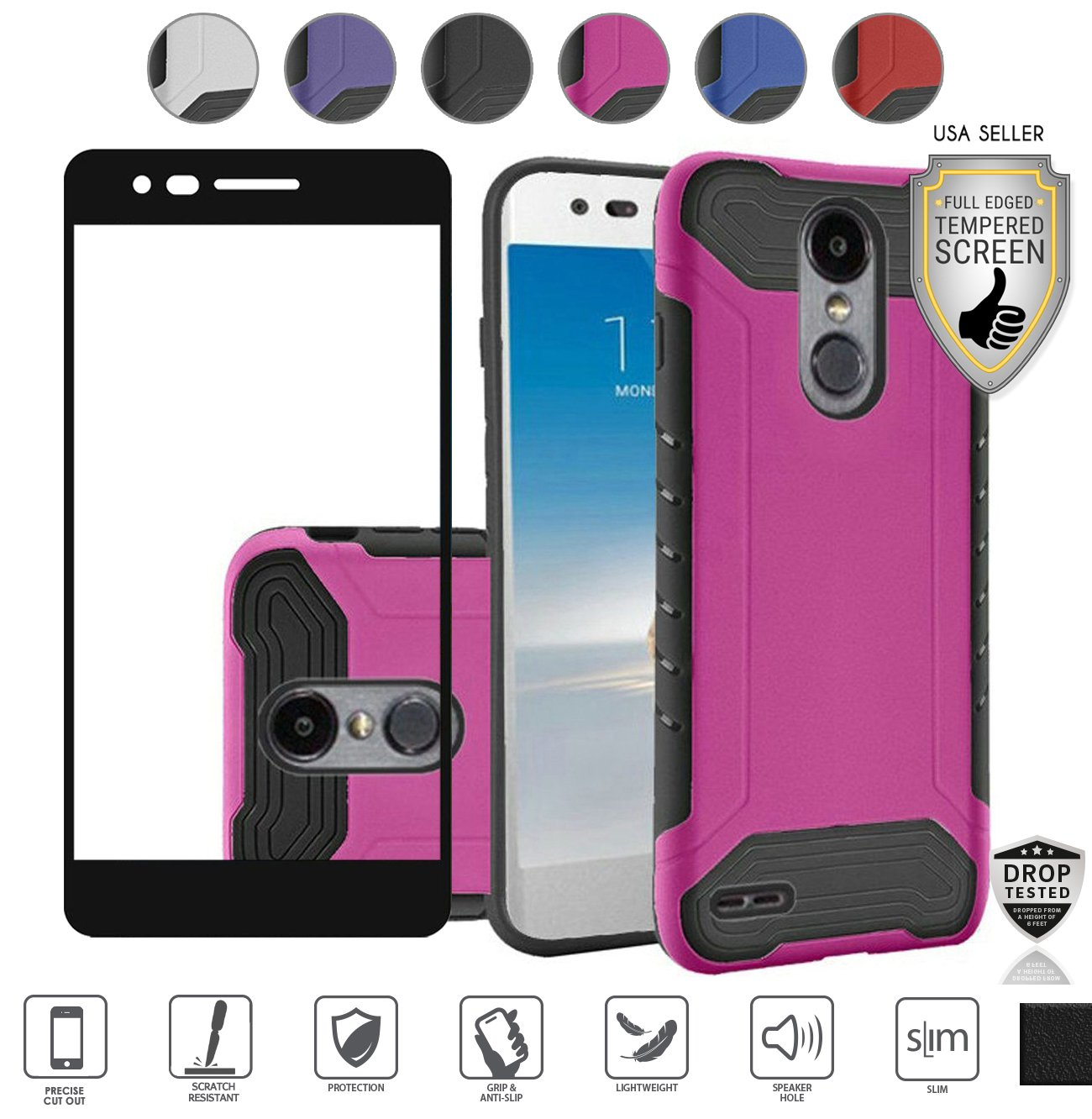 Lg Zone 4 Case, Lg Rebel 3 Case, Lg Aristo 2 Case, LG Tribute Dynasty Case, with Tempered Screen Protector, Ultra Slim Tough Hybrid [Shockproof] Armor Defender Case (Hot Pink)