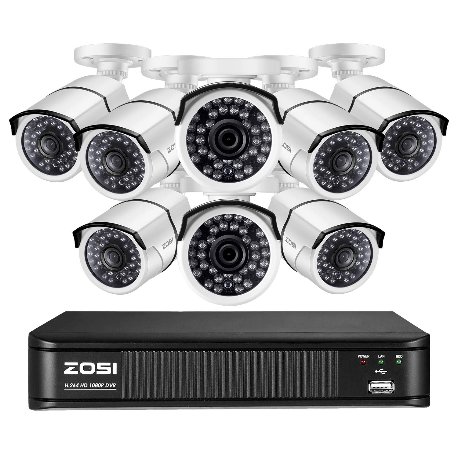 ZOSI 1080P Video Surveillance Home Security Camera System, 8 Channel CCTV DVR Recorder with 8 x 1080p Bullet Camera Outdoor Indoor, Long Night Vision, Remote Accsee, Motion Detection No HDD