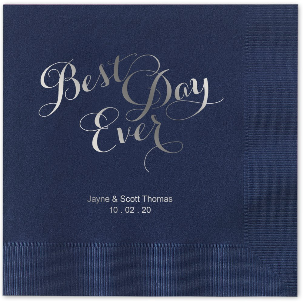 Best Day Ever Personalized Beverage Cocktail Napkins - Canopy Street - 100 Custom Printed Navy Blue Paper Napkins with choice of foil stamp