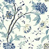 York Wallcoverings Cobalt Blues Teahouse Floral Removable Wallpaper, Greens