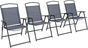 Pellebant Set of 4 Patio Dining Chairs, Outdoor Folding Chairs with Armrest, Patio Furniture Chairs for Camping, Beach, Backyard, Garden, Poolside, Gray