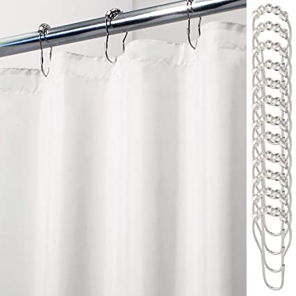 MDesign Extra Long Water Repellent Mildew Resistant Heavy Duty Flat Weave Fabric Shower Curtain Liner
