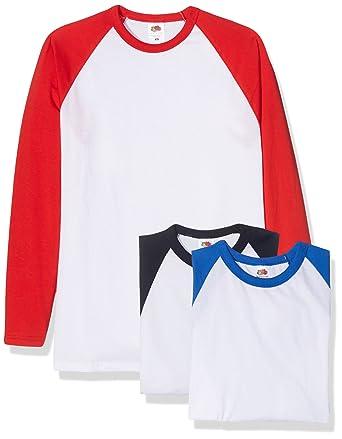 Fruit of the Loom Baseball Classic Long Sleeve Camiseta (Pack de 3 ...