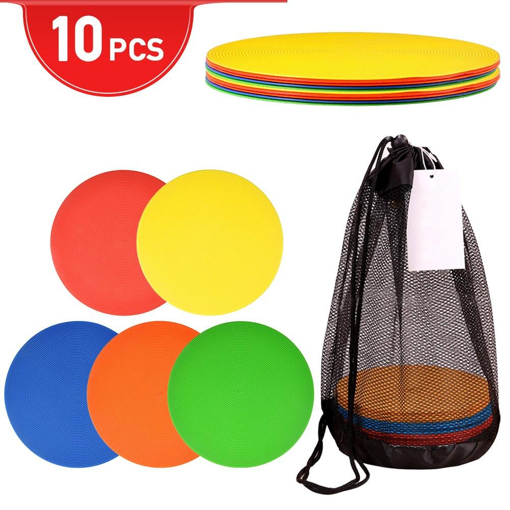 10Pcs Flat Disc Markers, Round Silicone Speed Agility Training Spot Cones Field Marker for Soccer, Basketball, Baseball VGEBY
