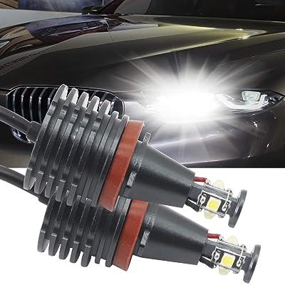 H8 LED Angel Eyes Halo LED Ring Bulb CREE 80W White Fit for BMW E60 E61 E90 E92 E70 E71 E82 E89 1 3 5 Series X5 X6 Z4(Pack of 2): Automotive