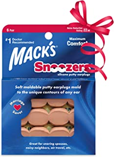 product image for Mack's Snoozers Silicone Putty Earplugs - 6 Pair – Comfortable, Moldable Silicone Ear Plugs for Sleeping, Snoring, Loud Noise & Traveling