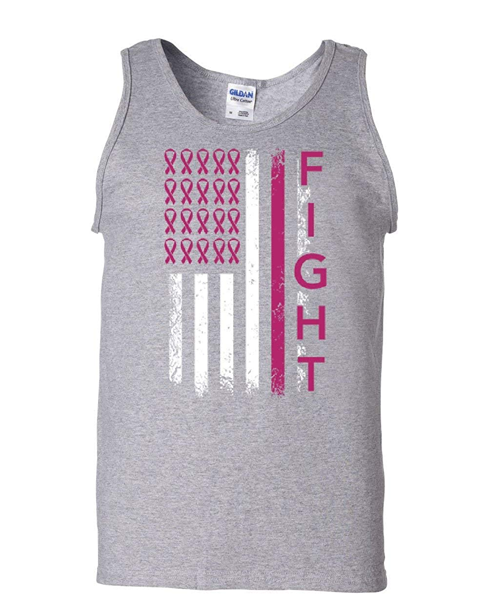 Tee Hunt Fight Breast Cancer American Flag Tank Top Awareness Pink Ribbon Sleeveless