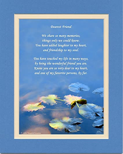 Friend Gifts With We Share So Many Memories Poem Water Lily Leaves Photo 8x10