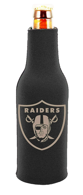 Las Vegas Raiders 2-Pack Tonal Black Design Zipper Bottle Beverage Insulator Neoprene Holder Cooler Football