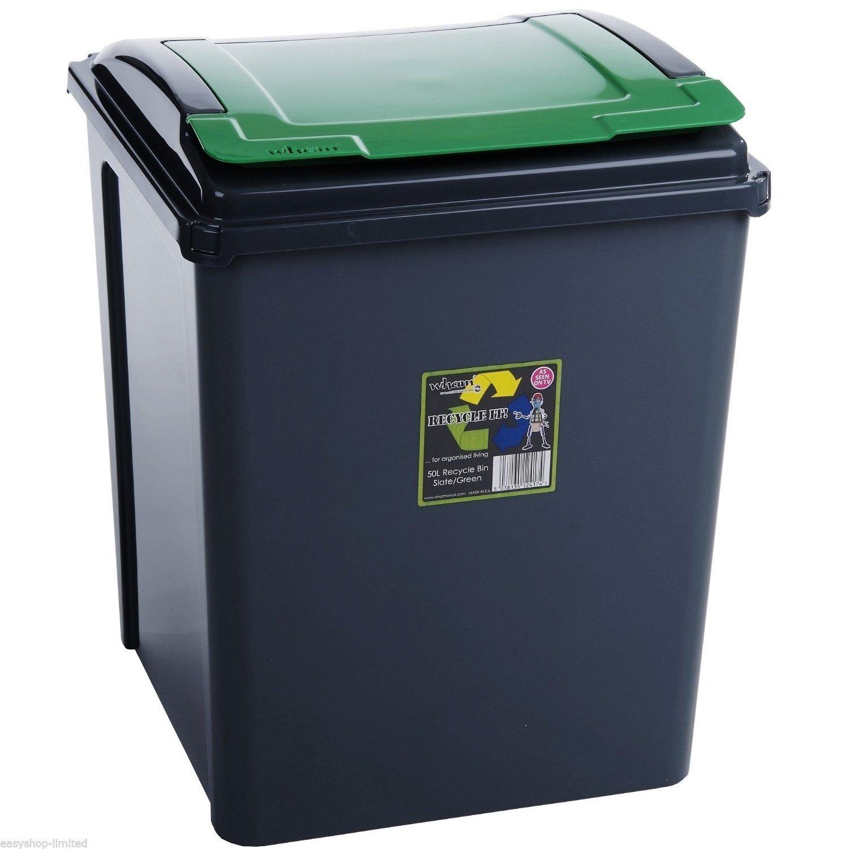 funkybuys/® Poubelle en plastique r/ésistant 25/l//50/l//65/l//80/l//90/l 50L Green Recycling Bin