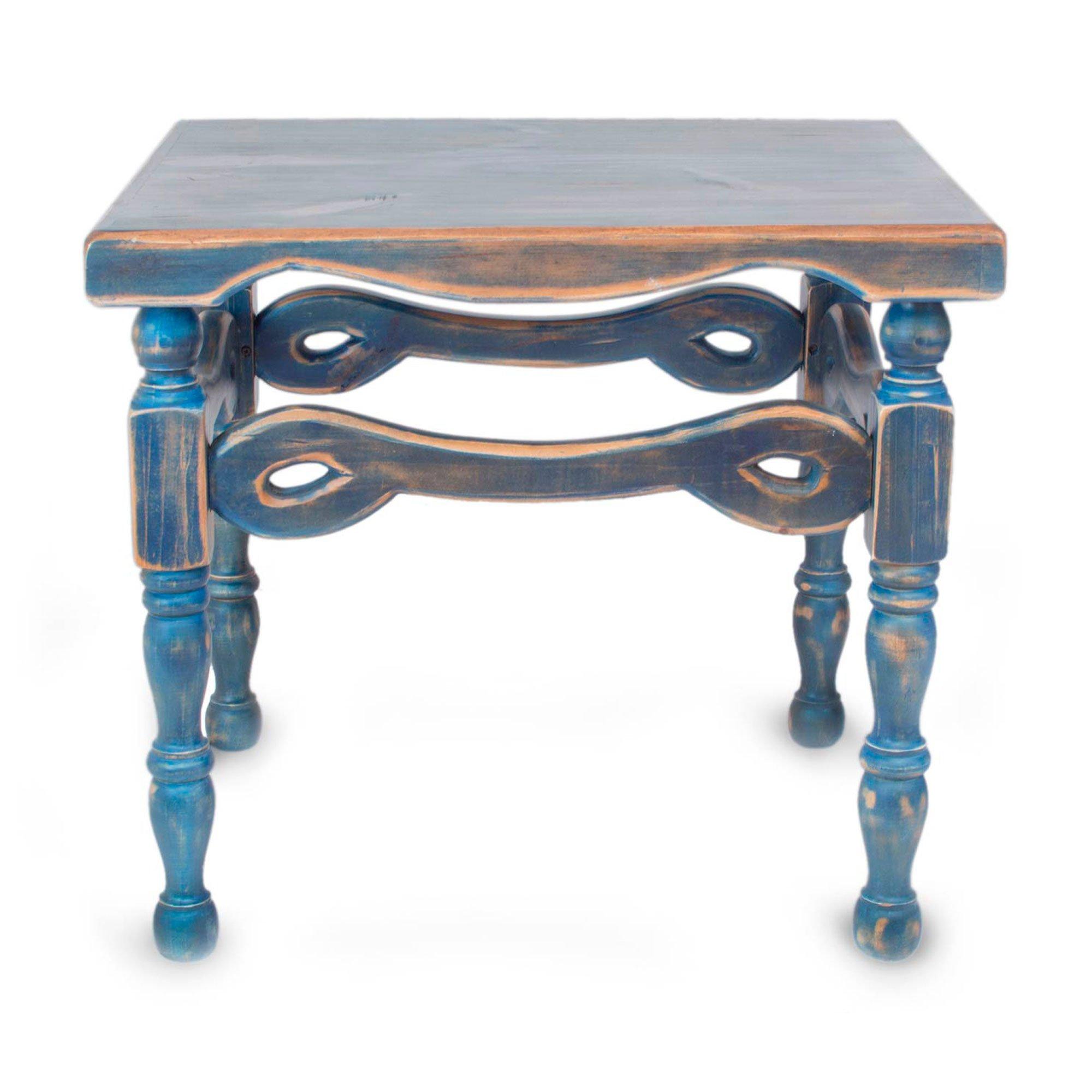 NOVICA Pinewood Rustic End Tables, 23.5'' Tall, Blue, 'Hidalgo Royal Blue' by NOVICA (Image #2)