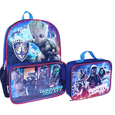 f821b61ac6 lovely Guardians Of The Galaxy Marvel Backpack with Clear Pocket Lunchbox  Bag
