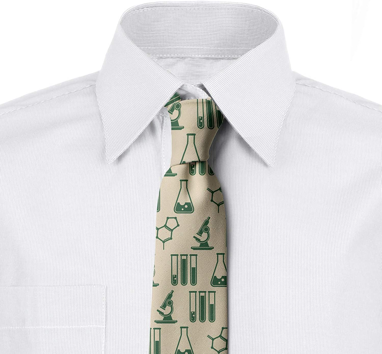 Hunter Green and Beige Pharmaceutical Drug Analysis 3.7 Ambesonne Mens Tie