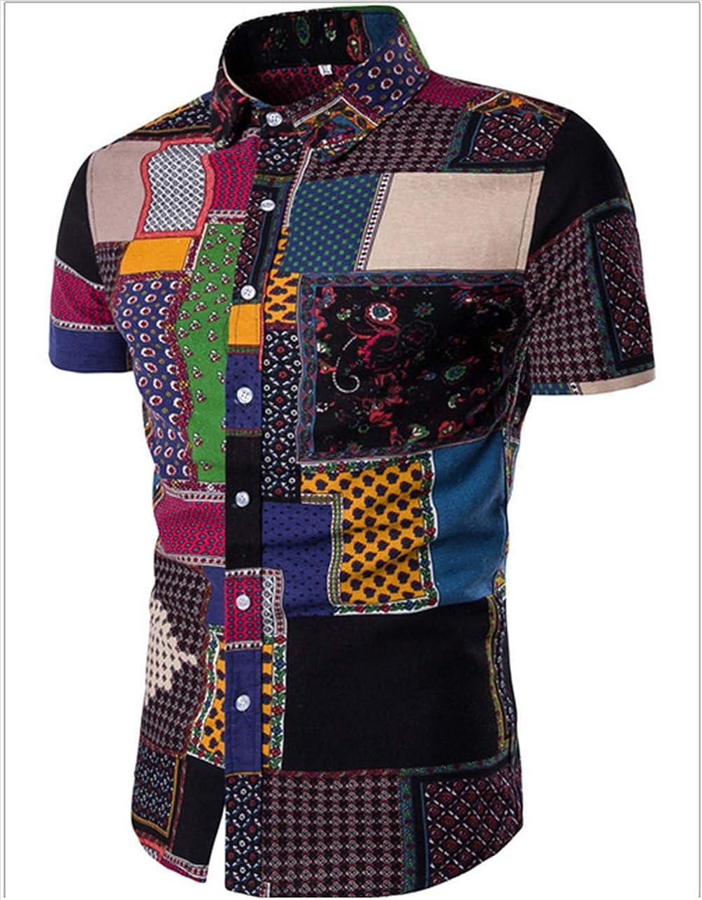 Hawaiian Shirts for Men Button Down Short Sleeve Shirt Aloha Linen Printing Shirt,12 Styles