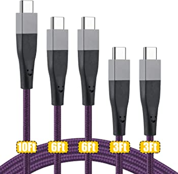 5-Pack USB Type C Nylon Braided Charger Cable