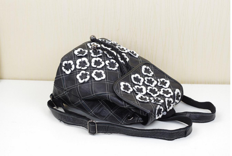 98e6ba26dc3a0 FEN Sacs à main à la mode sacs à main ethniques cuir fleur cousu à la main  sac à bandoulière en cuir (noir et blanc, coloré) , Black and white   Amazon.fr  ...