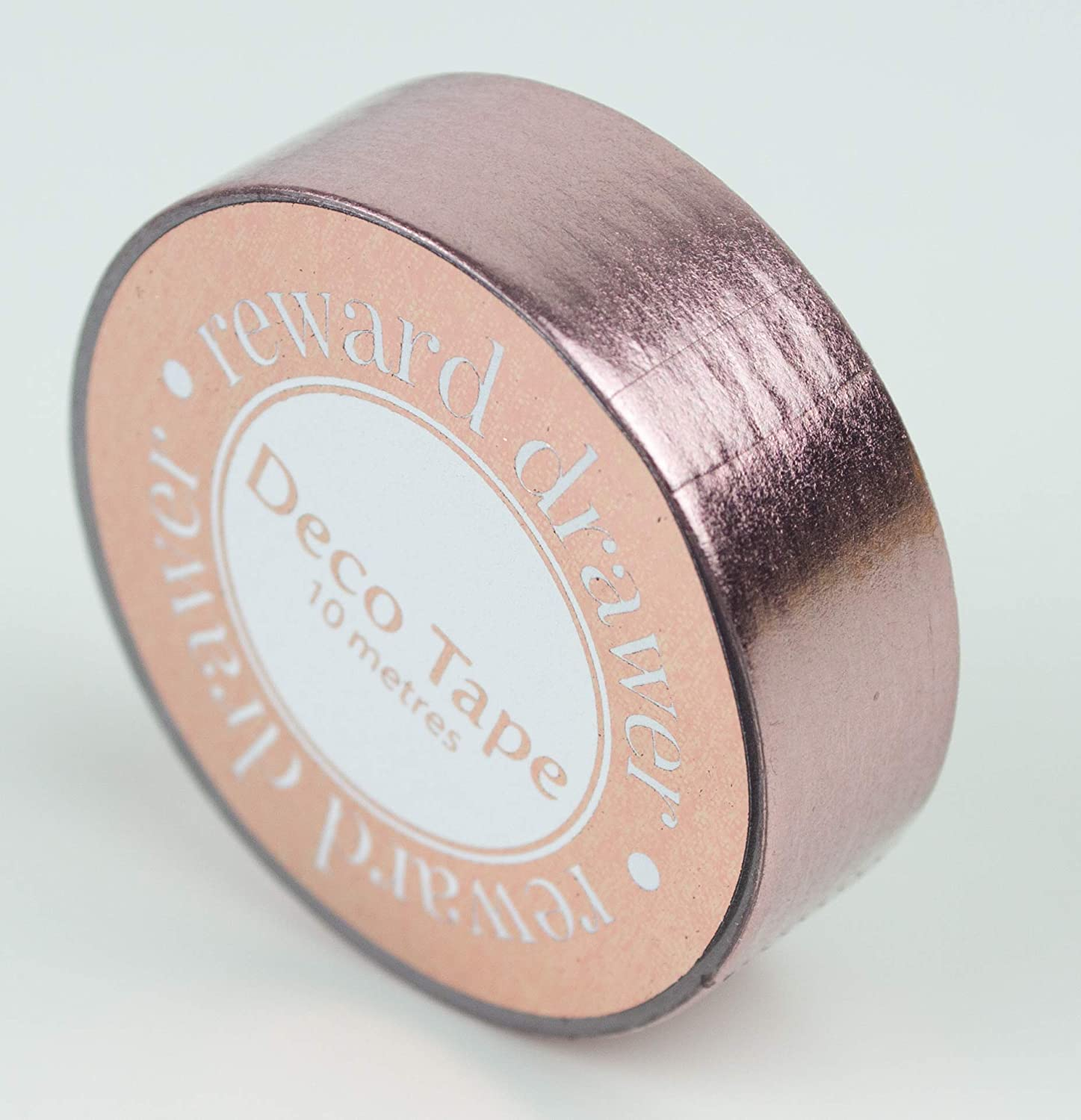 Rose Gold Decorative foil washi Tape roll in Metallic Pink - Generous 10 metre Long roll x 15mm Wide - for Decorating Wedding Stationery, journals, Planners, scrapbooks, Gift wrap and envelopes