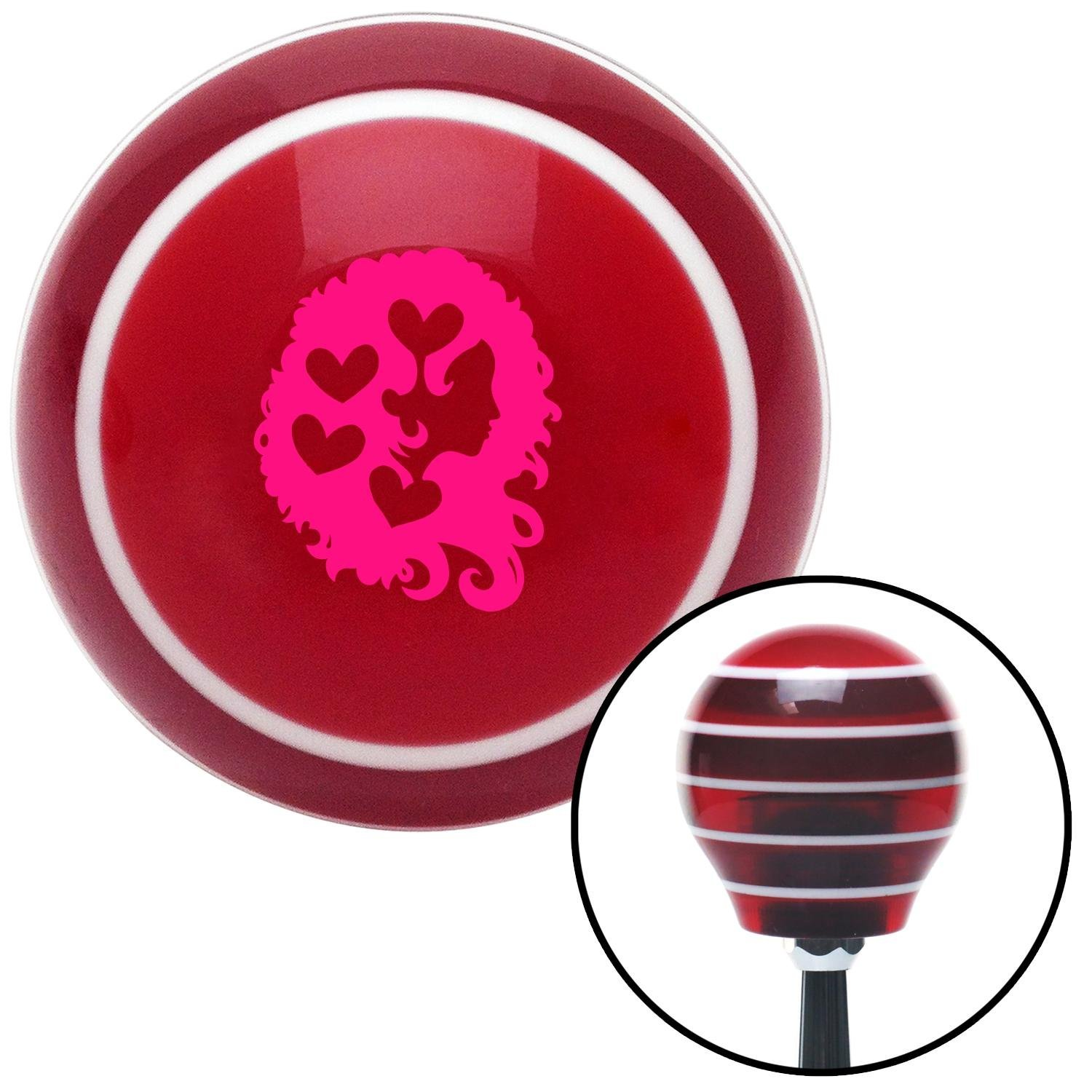 Pink Heart Girl American Shifter 116655 Red Stripe Shift Knob with M16 x 1.5 Insert