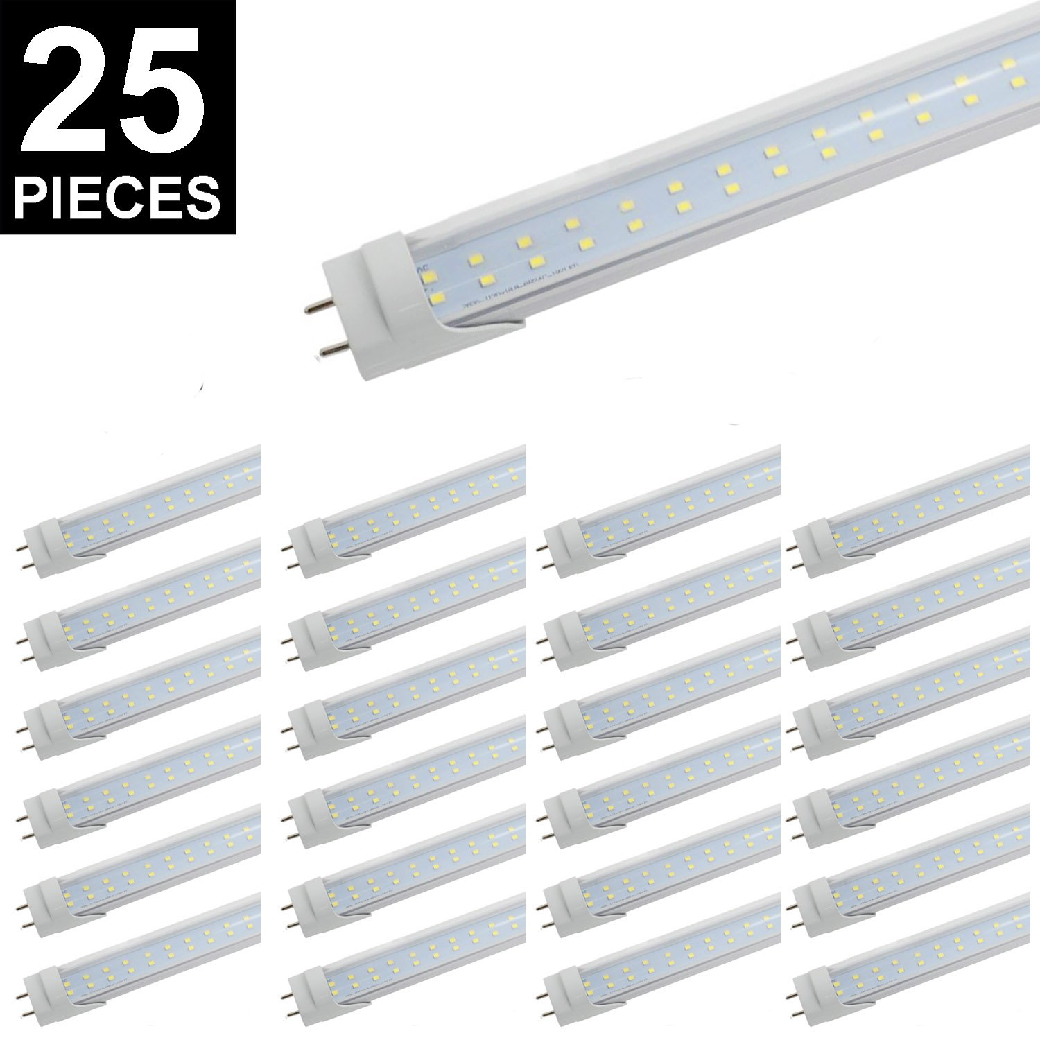 (US STOCK)CNSUNWAY 4ft 28W T8 LED Tube, 48'' G13 Bi-pin Base Light Bulb with Clear Cover, 2800LM 6000K Cool White (6000K Super Bright White, 25-Pack Dual Row)
