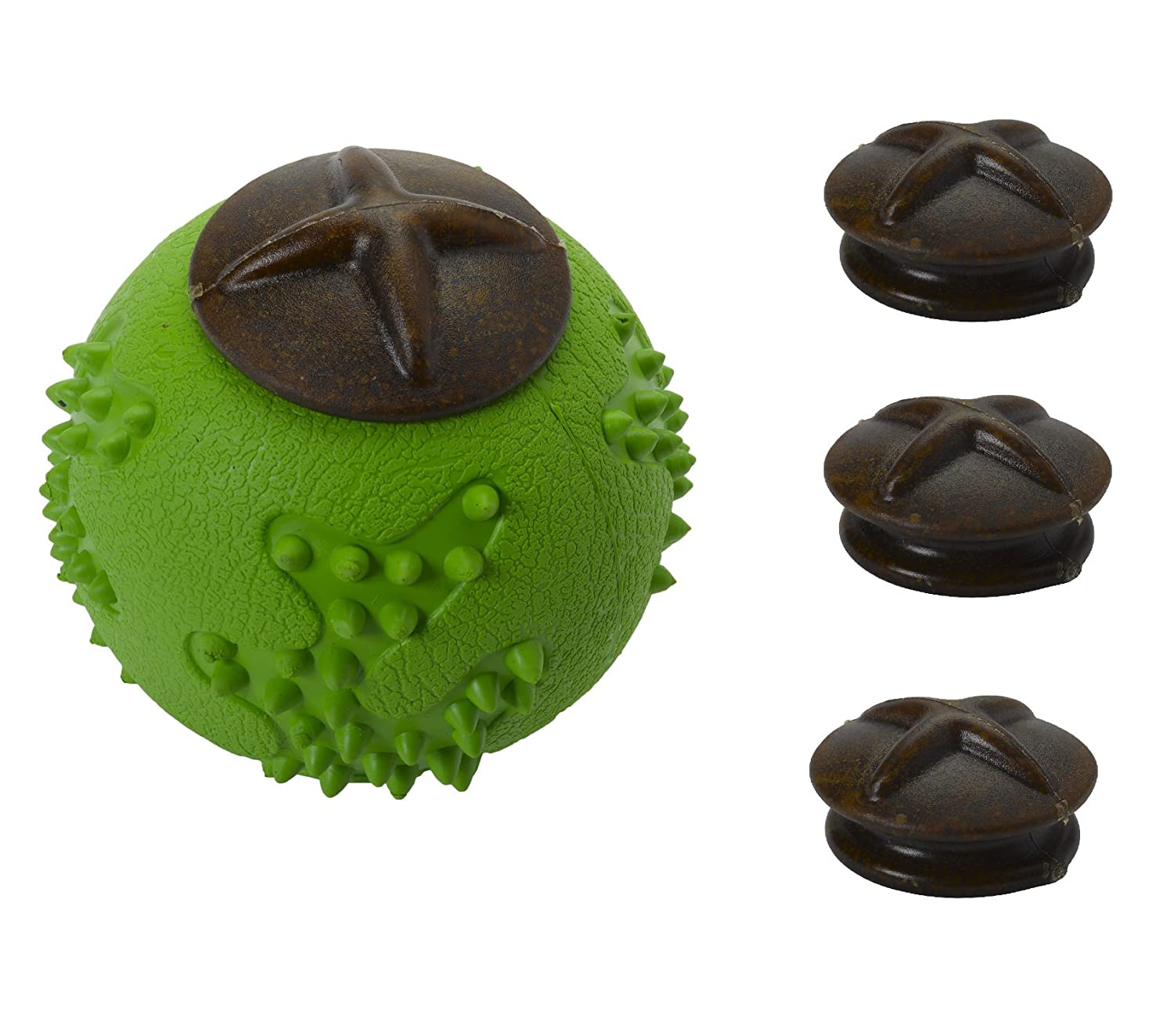Large (11cm) Petface Toyz Dog Puppy Natural Rubber Chew Ball & Treat Dispenser with Refill Pack (Large 11cm)