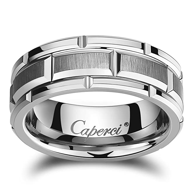 Caperci Mens 8mm Brick Pattern Tungsten Wedding Band RingAmazoncom