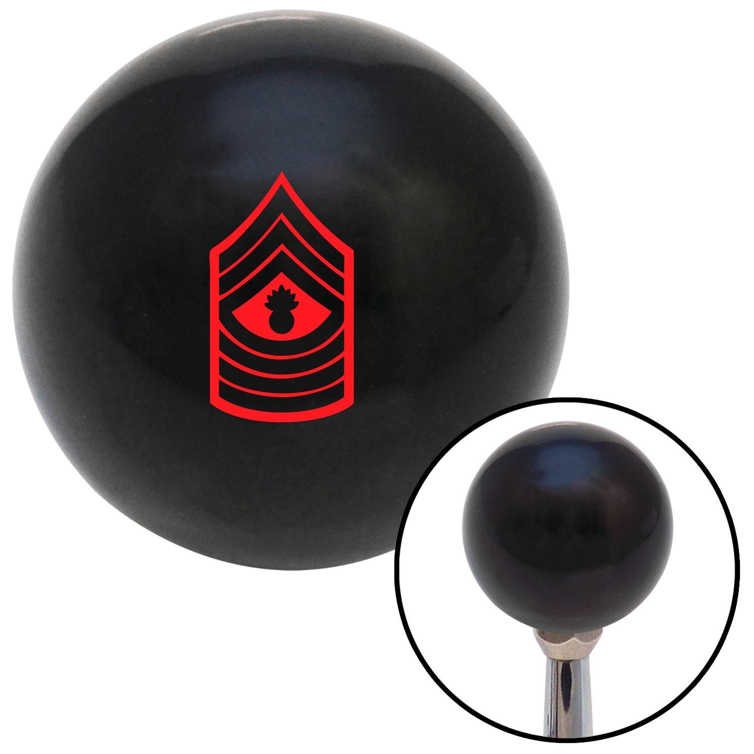 Red 09 Master Gunnery Sergeant American Shifter 107195 Black Shift Knob with M16 x 1.5 Insert