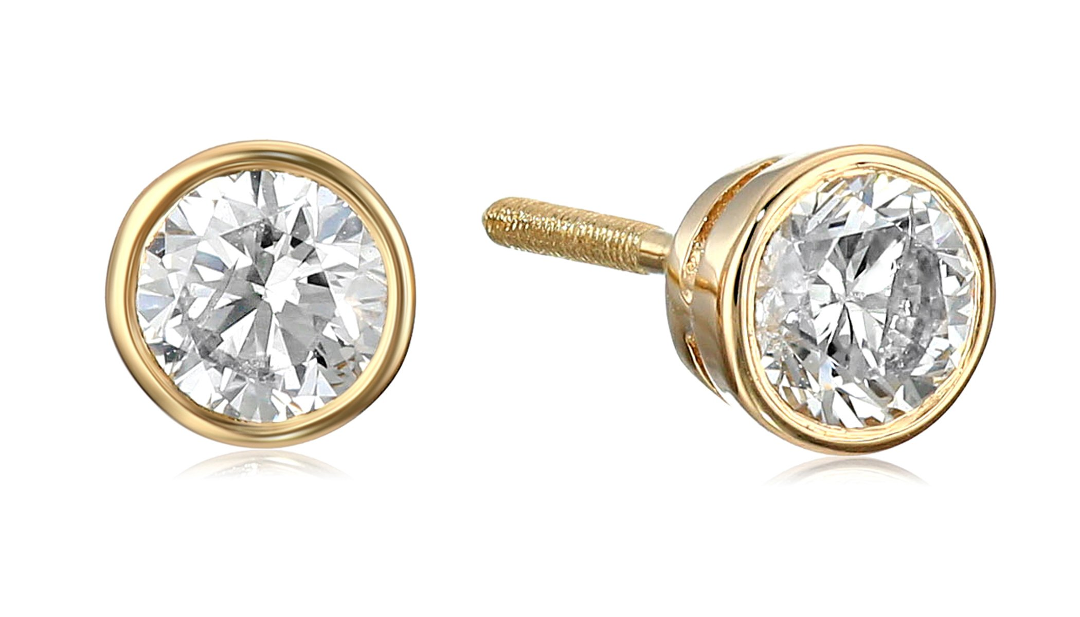 14k Yellow Gold Bezel Set Diamond with Screw Post and Back Stud Earrings (1/2cttw, K-L Color, I2-I3 Clarity)