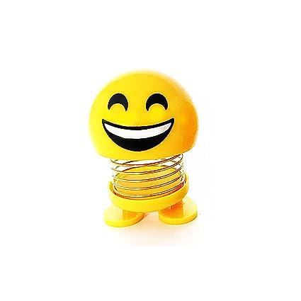 Pack of Funny face Smiley Emoji Dolls with Spring for Car Dashboard (Pack of 1 Emoji)