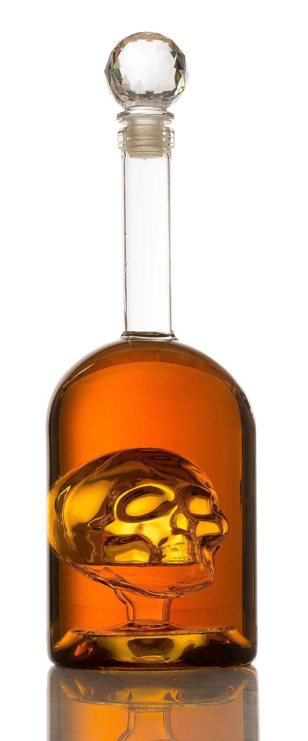 Skull Decanter in Bottler Skull Head by The Wine Savant, Skull Bottle Skull face Enlarges with Whiskey, Tequila, Bourbon Scotch or Rum - Great Gift For Any Bar!