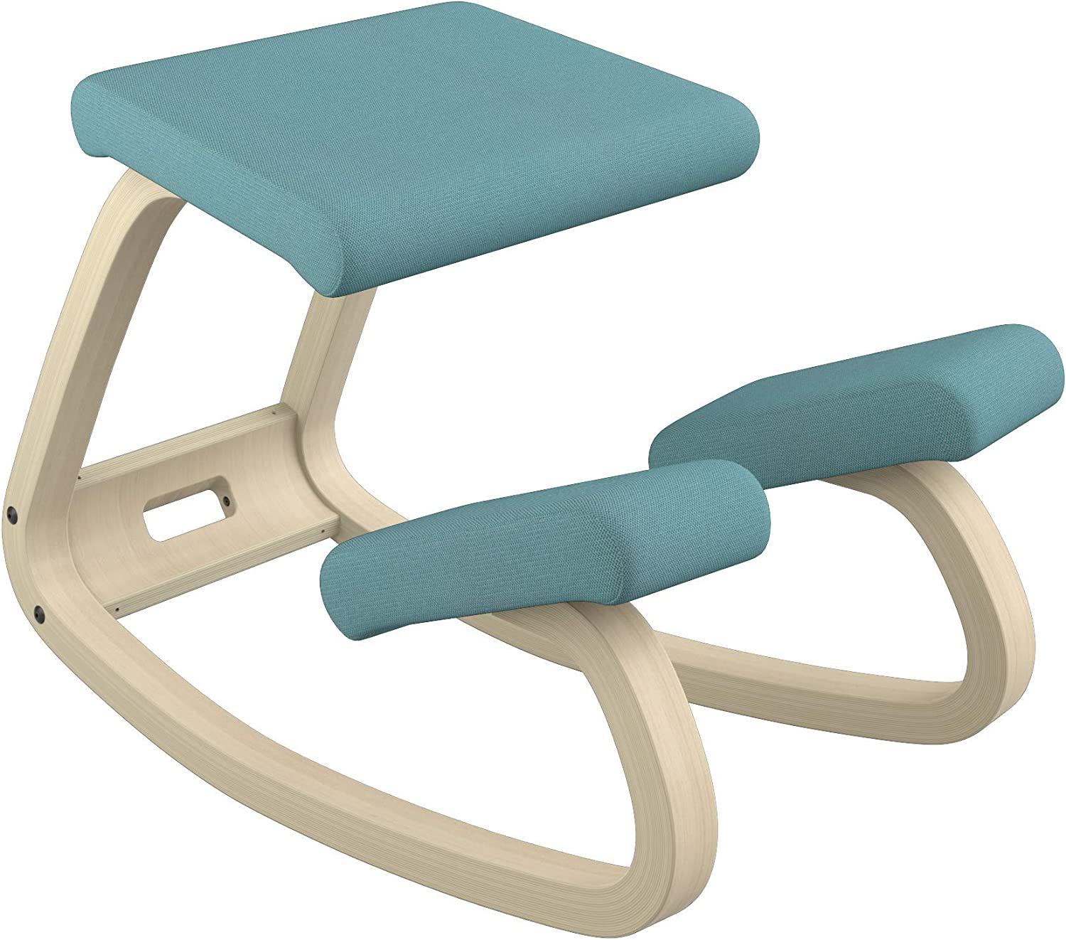 Varier Variable Balans Original Kneeling Chair Designed by Peter Opsvik (Turquoise Revive Fabric with Natural Ash Base)