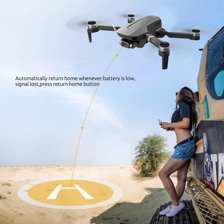 dos bater/ías y bolsa 4DRC F4 Drone con c/ámara 4K HD GPS plegable para adultos 60 minutos de vuelo 1000 metros de pPrtata FPV Control Gestual 5G GHz WiFi FPV Brushless Motor GPS Follow Me