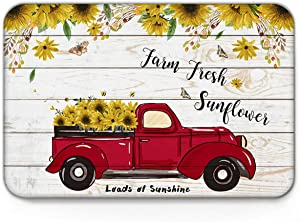 Indoor Doormat Front Door Mat 20x31.5In, Red Pickup Truck Full of Sunflowers on The Retro Wood Board Absorbent Entrance Rug, Non Slip Bathmat, Dirt Trapper Entry Rugs Machine Washable Welcome Carpet