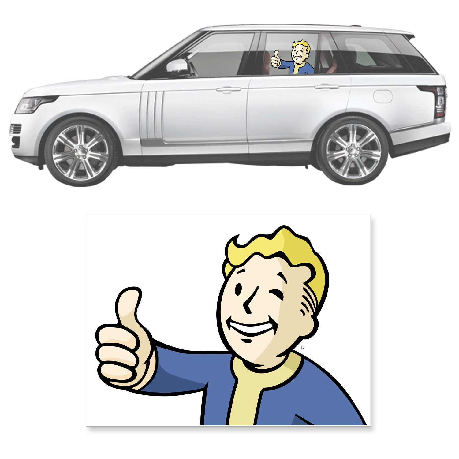 FWFO 3004 Car Accessories Fallout 4 Vault Boy Passenger Series Perforated Sunshade Graphic Decal FanWraps Inc