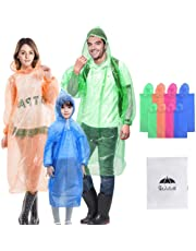 Walsilk 8 Pack Family Pack Disposable Rain Ponchos with Hood & Sleeve,Waterproof Kids Teens and Adult Rainware,Emergency Ponchos with Thicker New Material,No Smell