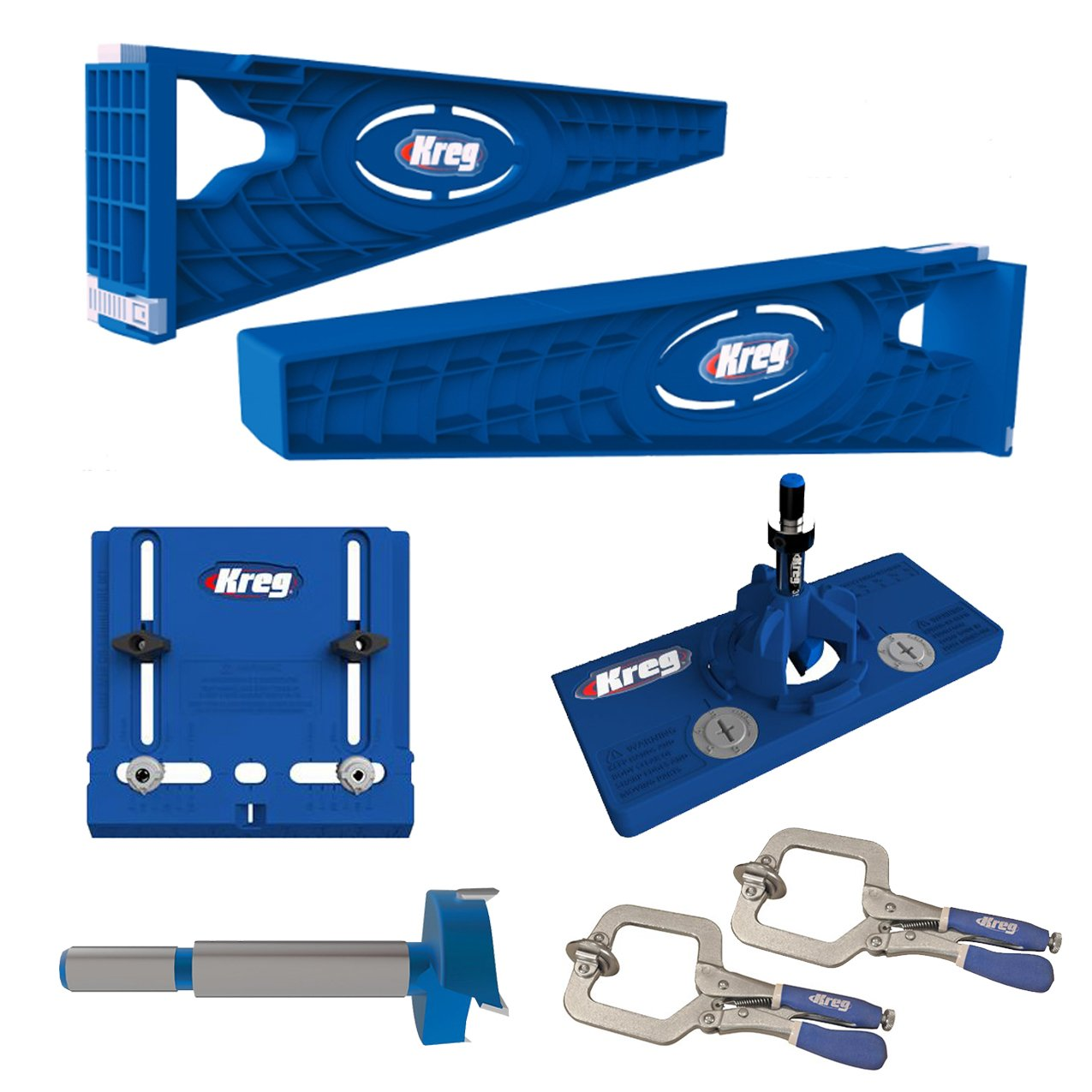 Kreg Slide Mounting Tool, Cabinet Hardware Jig, Hinge Jig & Bit With 2 Face Clamps