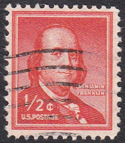 USA Stamp Scott 1030 1954 1961 1 2 Cent Benjamin Franklin