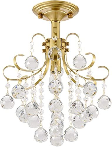 SOZOMO Crystal Chandeliers,60W Modern Gold Crystal Pendant Lighting, with 1- Light Flush Mount Ceiling Light for Bedroom, Living Room, Dining Room, Hallway, Wedding, Office. 14.7in-60W