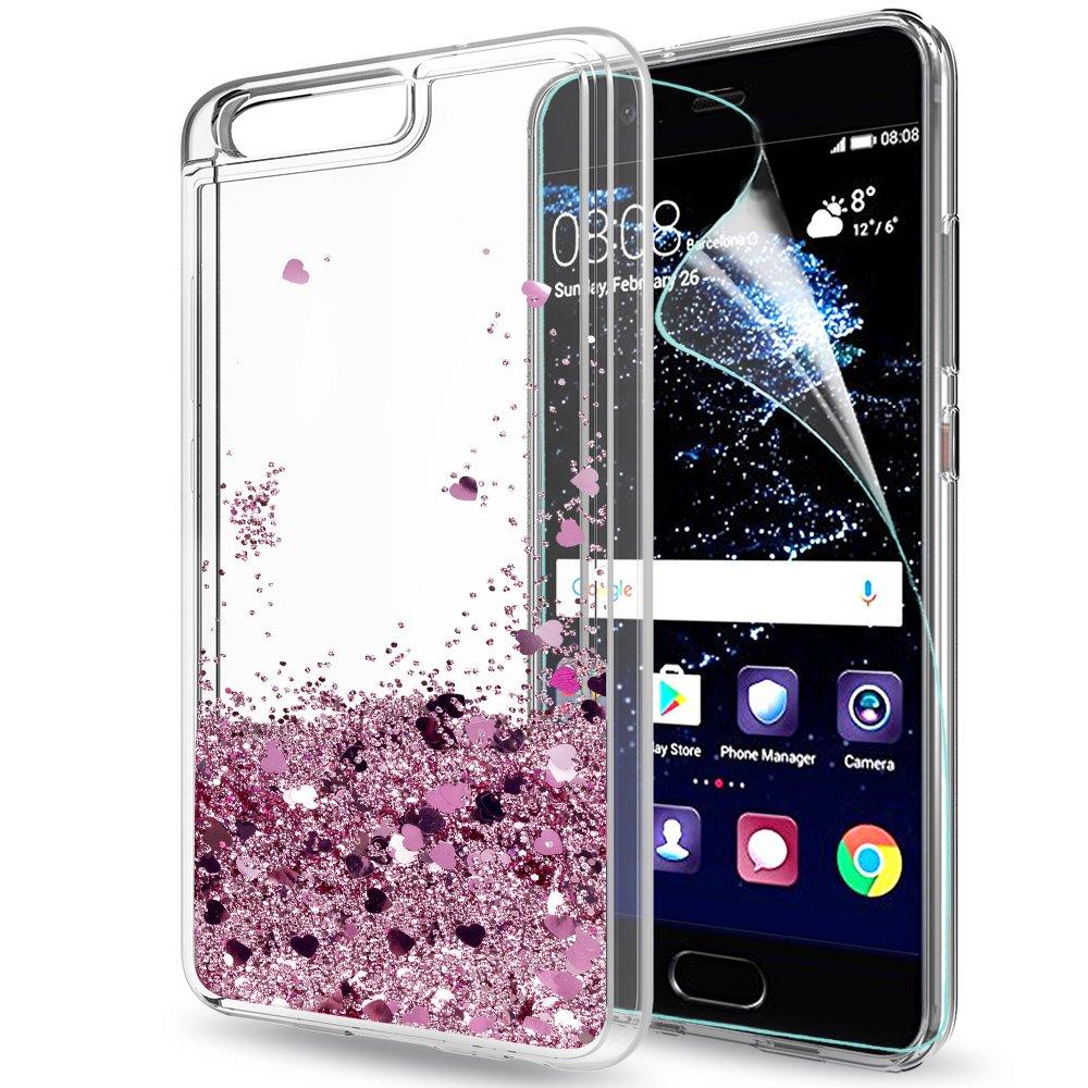 LeYi Funda Huawei P10 Silicona Purpurina Carcasa con HD Protectores de Pantalla,Transparente Cristal Bumper Telefono Gel TPU Fundas Case Cover Para ...