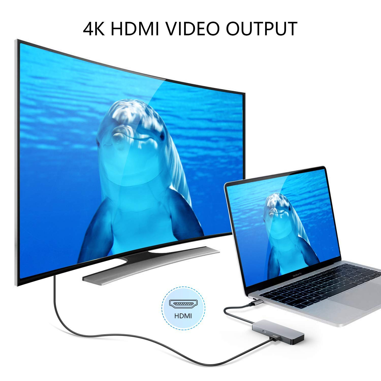 Pourvie KMD-HUB-DX - USB C Hub 7 en 1 de aluminio adaptador con USB puerto C,4 K Hdmi Conector, SD/Micro SD Lector de tarjetas y USB 3.0