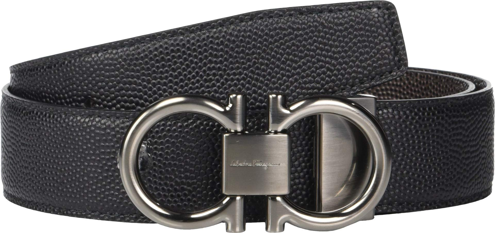 Salvatore Ferragamo Men's Double Gancio Reversible Belt, Black/Brown, 36