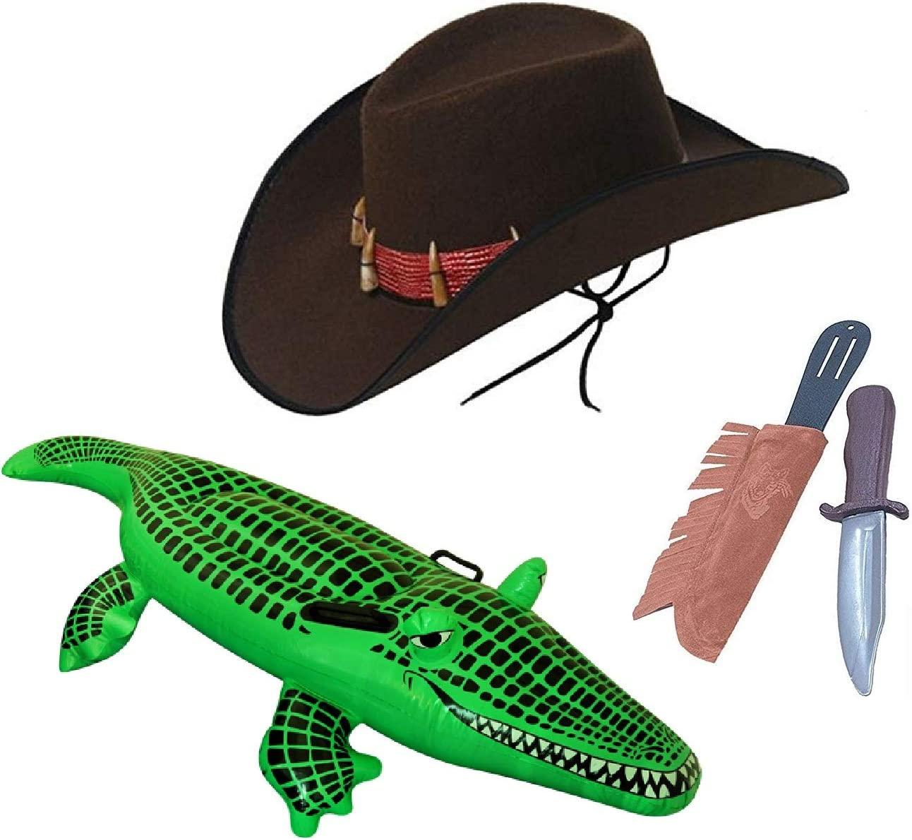 New Inflatable Crocodile Aligator Dundee Hunter Fancy Dress Party Accessory