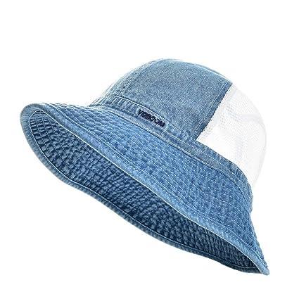 5e2ff23959ad6 MSMIRROR Summer Bucket Hat Men Boy Wide Brim UV Protection Cap Fisherman  Hats Sky Blue 58cm