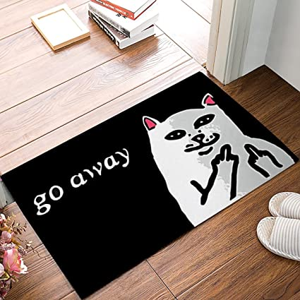 HomeCreator 3D Printing Funny Go Away Cat Doormat Indoor Rubber Door Mats  Thin Non Slip Carpets