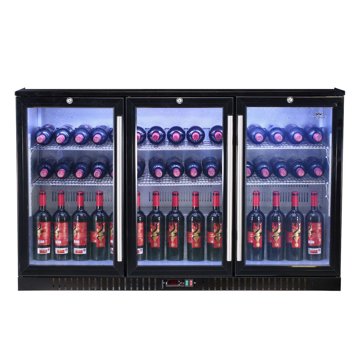 3-Door Back Bar Cooler Refrigerator - This beverage bar fridge features with Italian Carel Controller, LG Compressor, EBM Fan, Self-Closing Glass Door, perfect for bars, restaurants and game rooms.