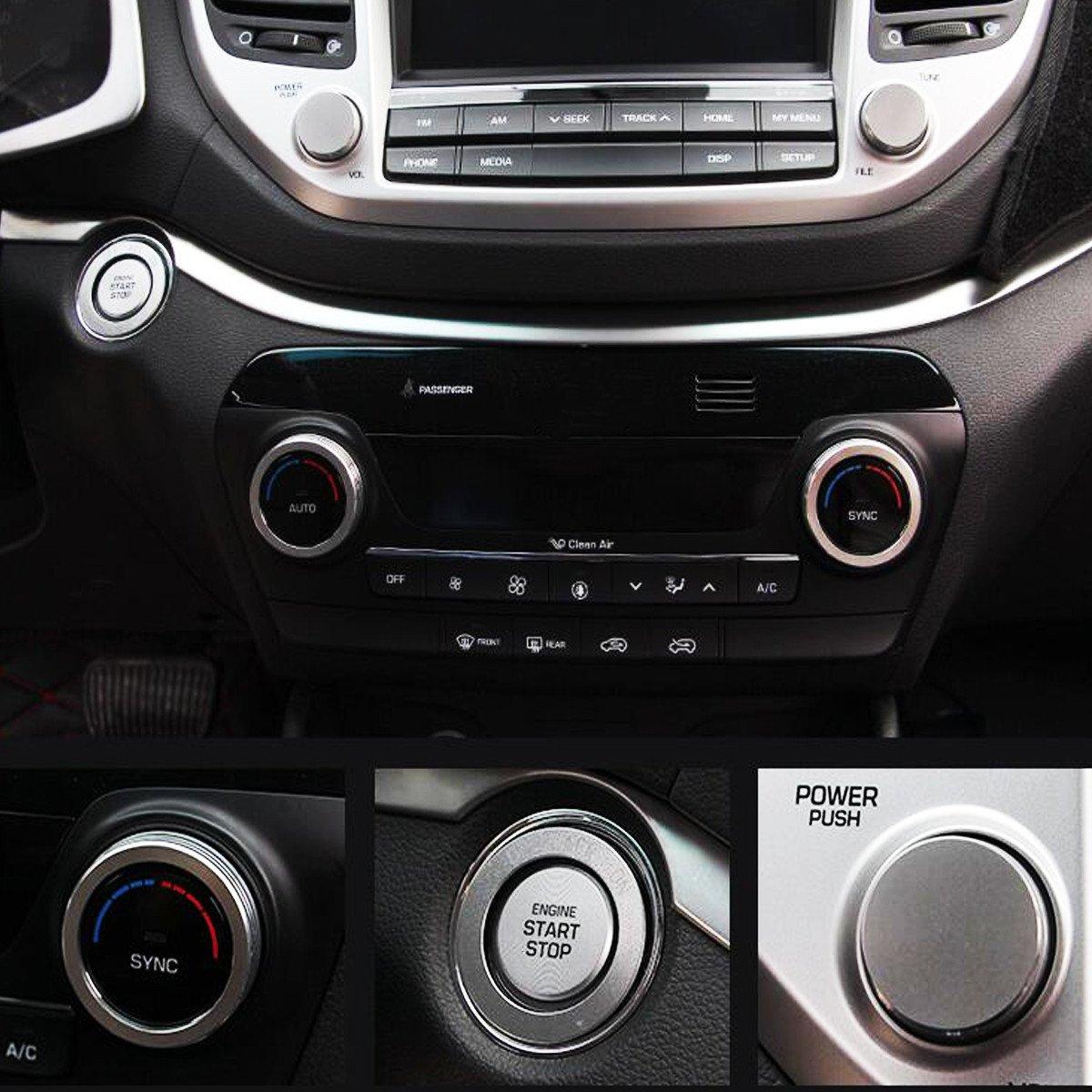 GOZAR 5 Pz Auto Aria Condizionata Pulsante Di Accensione Anello Di Copertura Cornice Per Tucson 2016 2017