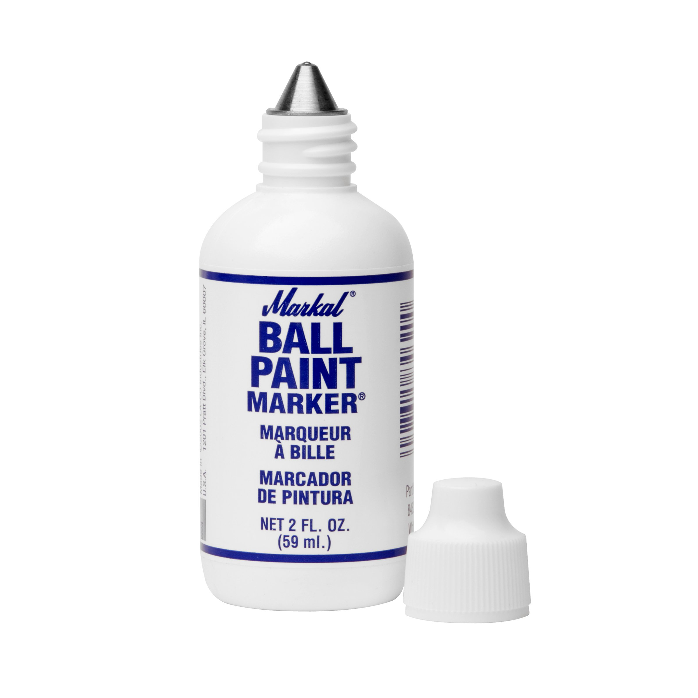 Markal Ball Paint Marker with 1/8'' Tip, White (Pack of 12)