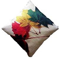 Lipsunique Jute Digital Leaves Print Cushion Cover 16x16inch Set of 5/Leaves print/40x40cm