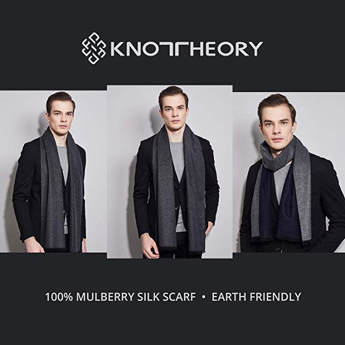 019faf1fa2 Knot Theory Silk Winter Scarf Softer than Cashmere - Black Grey for Men &  Women at Amazon Men's Clothing store: