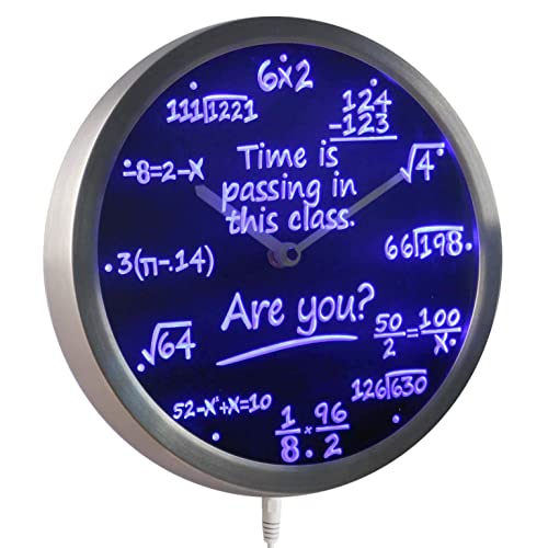 ADVPRO nc0463-b Math Class Time is Passing are You Gift Decor Neon LED Wall Clock