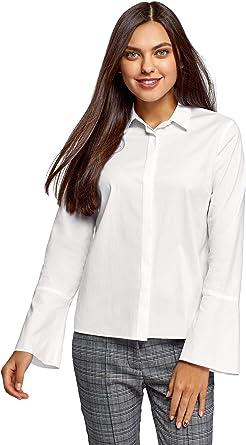 oodji Ultra Mujer Camisa Recta con Puños Acampanados